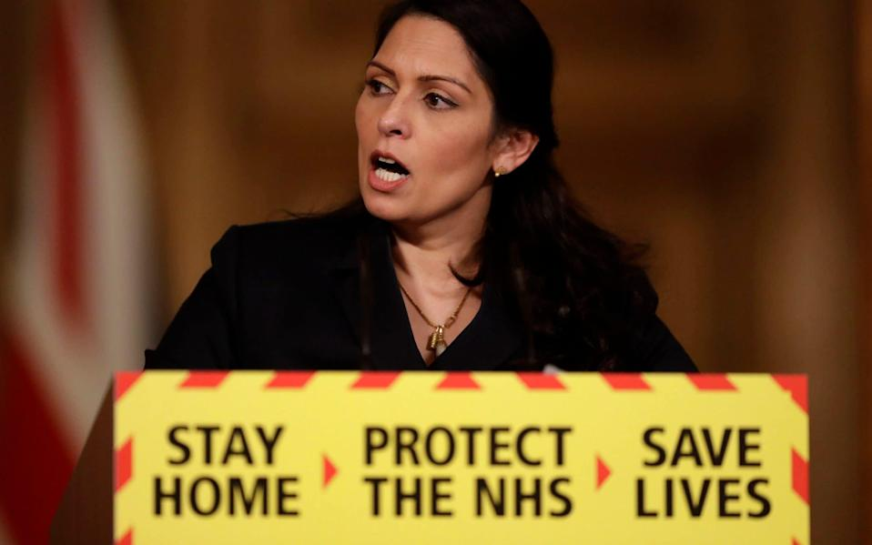 Only last night Priti Patel announced finnes of £800 will be handed to people caught at house parties of over 15 people, doubling after each offence up to a maximum of £6,400 for repeat offenders. - PA