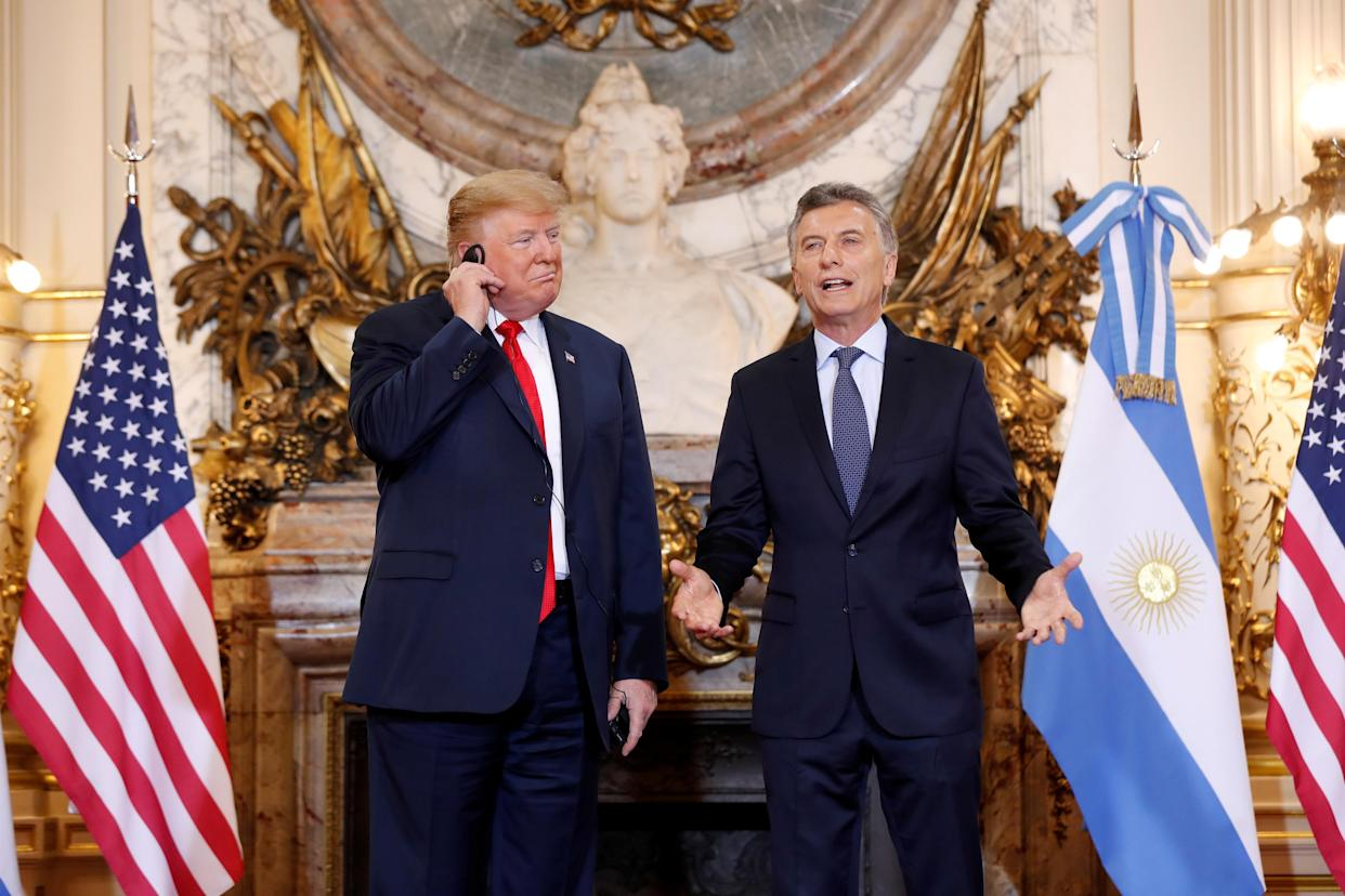 U.S. President Donald Trump and Argentina's President Mauricio Macri meet before the G20 leaders summit in Buenos Aires, Argentina, Nov. 30, 2018. (Photo: Kevin Lamarque/Reuters)