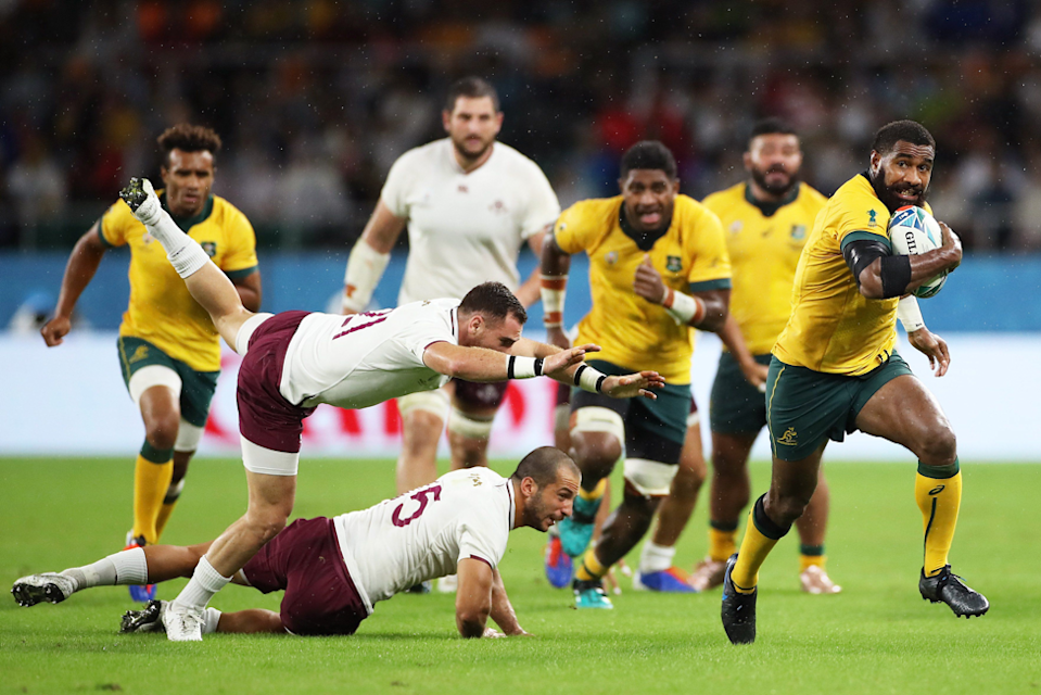 "Marika Koroibete of Australia breaks Georgia's defensive line to score his side's second try in a 27 - 8 win. Cameron Spencer (Getty Images) captured the despairing lunges of the Georgia defence: ""Koroibete is such a strong runner...I like the opposition players flying off him as he powers upfield."""