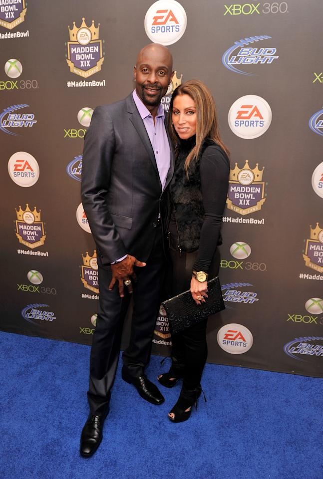 NEW ORLEANS, LA - JANUARY 31:  Former NFL player Jerry Rice and Latisha Pelayo arrive at EA SPORTS Madden Bowl XIX at the Bud Light Hotel on January 31, 2013 in New Orleans, Louisiana.  (Photo by Stephen Lovekin/Getty Images for Bud Light)