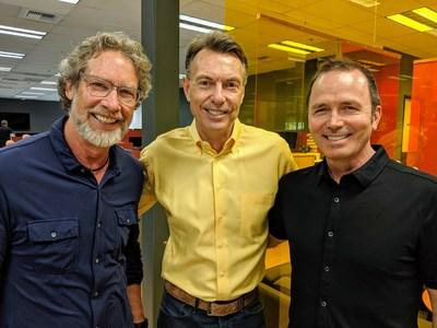 Clarity Creative leaders Bill Welter (l) and Gregg Stokes (r) join Monte Wood (c) in celebrating their future as one company.