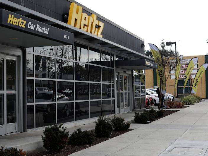 FILE PHOTO: A Hertz rental car location is pictured in Pasadena