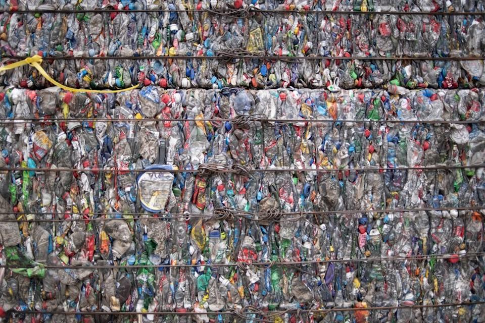A block of compressed plastic bottles at a plastic waste centre on the outskirts of Beijing. Photo: AFP