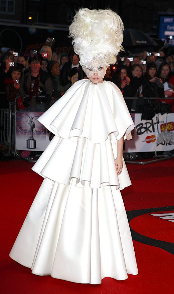 "Lady Gaga dominated the 2010 Brit Awards in London, where she won Best International Female Artist, Best International Breakthrough Act, and Best International Album. As usual, she also donned a bizarre getup, consisting of a voluminous tiered gown, towering wig, and lace veil. Mike Marsland/<a href=""http://www.wireimage.com"" target=""new"">WireImage.com</a> - February 16, 2010"