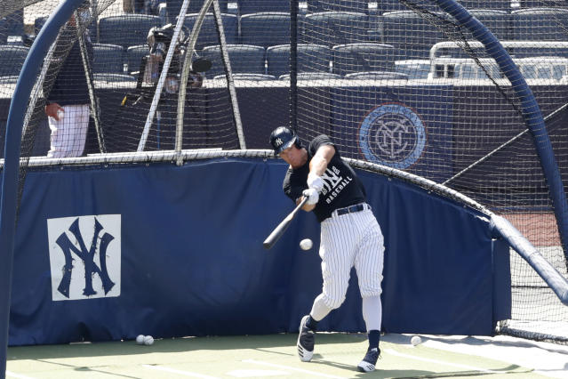 New York Yankees Aaron Judge bats in the cage at Yankees summer baseball training camp, Wednesday, July 15, 2020, at Yankee Stadium in New York. Judge was scratched from a sim game earlier in the week due to a stiff neck but was back on the field Wednesday. (AP Photo/Kathy Willens)