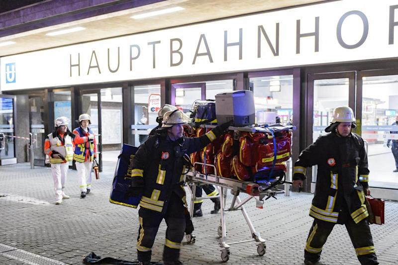 Station: Hoards of emergency workers swarmed to the scene. (Getty Images)