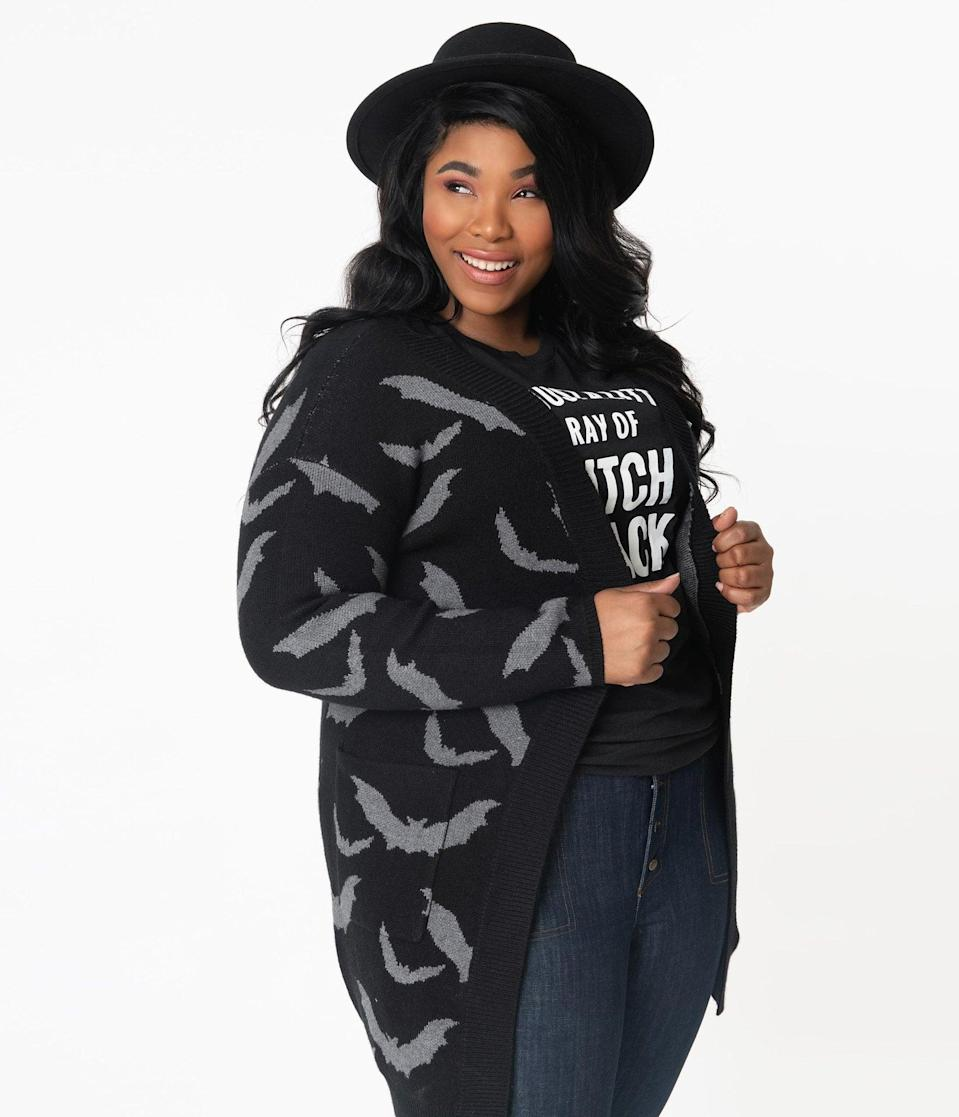 <p>The <span>Plus Size Black and Grey Bats Open Long Cardigan</span> ($68) looks terrifyingly cozy. </p>