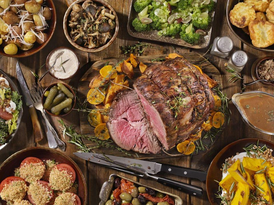 """<p>There are plenty of protein stars at a Maine Christmas (baked chicken, lobster, etc.), but a good rib roast is almost always one of them.</p><p>Get the <a href=""""https://www.delish.com/cooking/recipe-ideas/a20968995/how-to-cook-prime-rib/"""" rel=""""nofollow noopener"""" target=""""_blank"""" data-ylk=""""slk:recipe"""" class=""""link rapid-noclick-resp"""">recipe</a>.</p>"""
