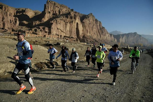 The Bamiyan marathon, where both sexes compete together, has become a symbol of freedom for Afghan women (AFP Photo/Wakil KOHSAR)