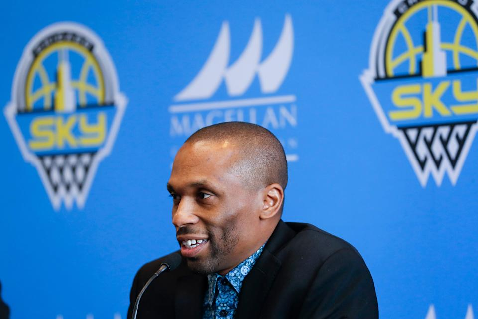 WNBA head coach and Sky GM James Wade smiles during a press conference.
