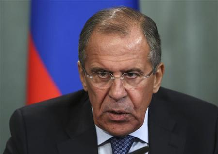 Russian FM Lavrov speaks during a news conference following his meeting with his Egyptian counterpart Fahmy in Moscow