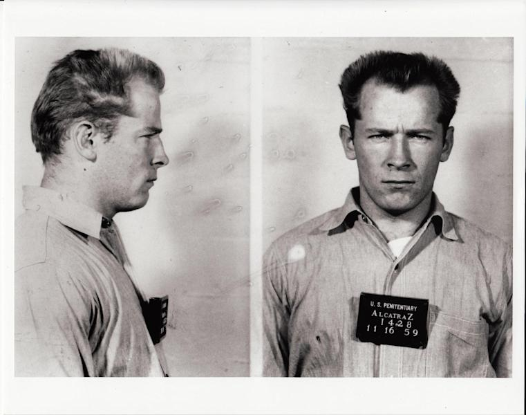 "This photo provided by the Sundance Institute shows James Whitey Bulger in a prisoner transfer photo from the U.S. Penitentiary at Alcatraz, in San Francisco, included in the documentary film, ""Whitey: United States of America v. James J. Bulger."" In the film, Bulger tells his defense attorney that he was never an FBI informant, but rather had federal agents on his payroll. The documentary directed by Joe Berlinger has its premiere at the 2014 Sundance Film Festival. (AP Photo/Sundance Institute, David Boeri Archives)"