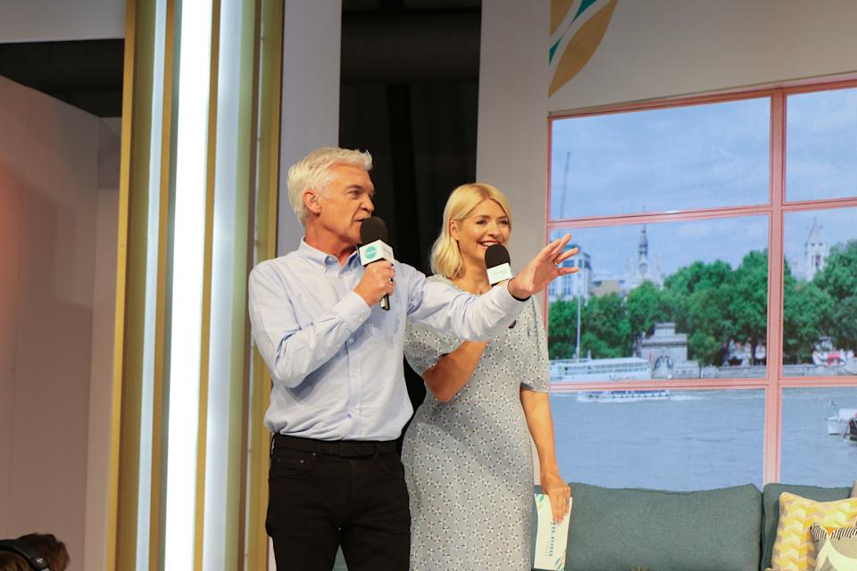 Presenters Phillip Schofield and Holly Willoughby filming 'This Morning Live', at Birmingham NEC. (Photo by Tim Roney/Getty Images)