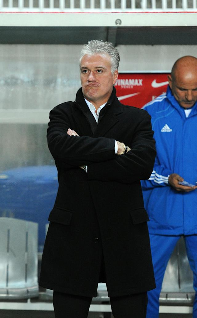 Marseille's coach Didier Deschamps watches his team's French League 1 football match against Paris-Saint-Germain on November 7, 2010 at the Parc des Princes stadium in Paris. Paris-Saint-Germain won 2-1 AFP PHOTO / MIGUEL MEDINA (Photo credit should read MIGUEL MEDINA/AFP/Getty Images)