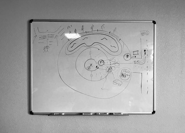 A diagram of security scenarios to combat a potential active shooter at a church is shown on a whiteboard during a class on defense tactics offered by Gatekeepers Security Services in Pilot Point, Texas. (Photo: Holly Bailey/Yahoo News)
