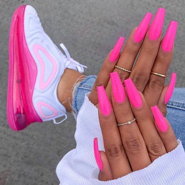 """<p>Match your nails to your trainers with a pink so bright, it practically burns. </p><p><a href=""""https://www.instagram.com/p/BwXu2gTFKMP/?utm_source=ig_embed"""" rel=""""nofollow noopener"""" target=""""_blank"""" data-ylk=""""slk:See the original post on Instagram"""" class=""""link rapid-noclick-resp"""">See the original post on Instagram</a></p>"""