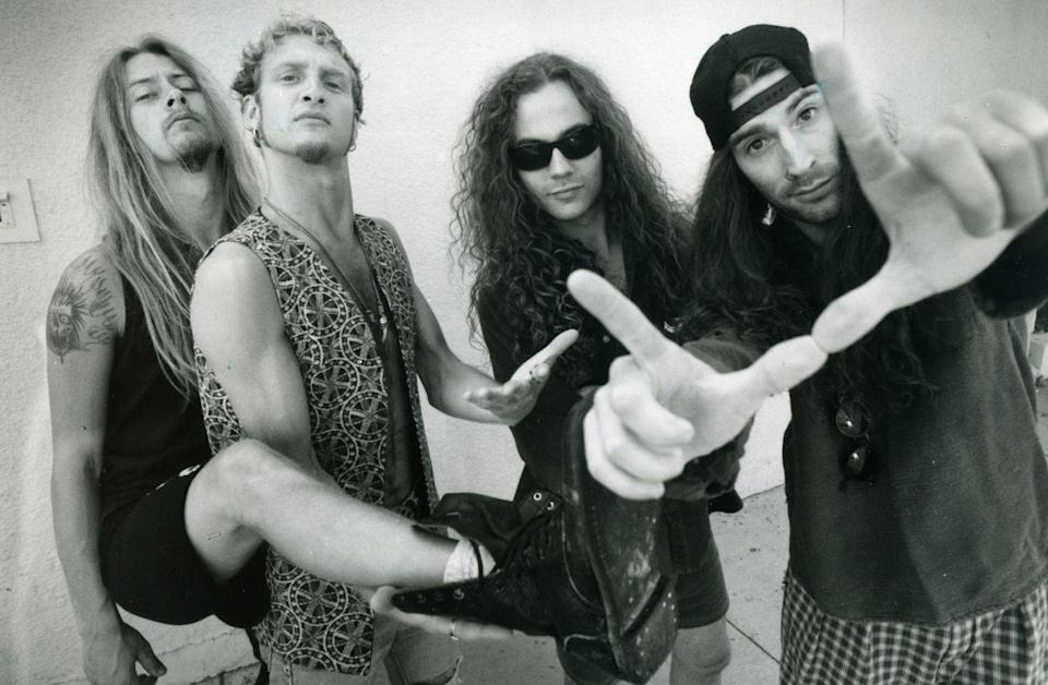 <p>Alice in Chains. Left to right Jerry Cantrell, guitar; Layne Staley, vocals, Michael Starr, bass and Sean Kinney in Hollywood for rehearsal July 1991.</p>
