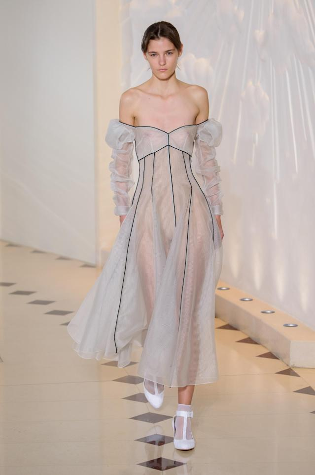 <p><i>Sheer, exposed-shoulder dress from the SS18 Emilia Wickstead collection. (Photo:IMAXtree) </i></p>