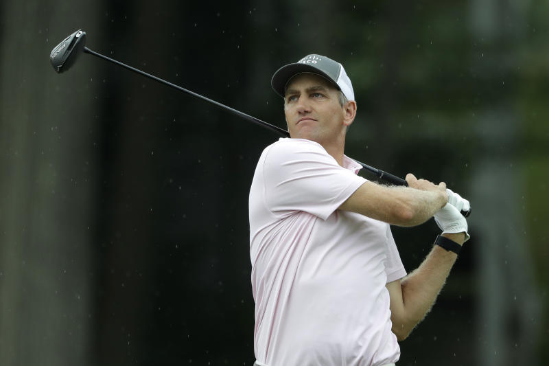 Brendon Todd tees off on the 18th hole during the third round of the Travelers Championship golf tournament at TPC River Highlands, Saturday, June 27, 2020, in Cromwell, Conn. (AP Photo/Frank Franklin II)