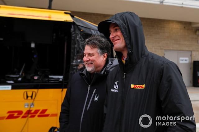 "Ryan Hunter-Reay, Andretti Autosport Honda and Michael Andretti <span class=""copyright"">Phillip Abbott / Motorsport Images</span>"