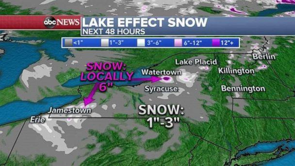 PHOTO: With the cold air moving over the relatively mild Great Lakes, lake effect snow is expected in western Pennsylvania and New York where locally half a foot of snow is possible over the next 48 hours. (ABC News)