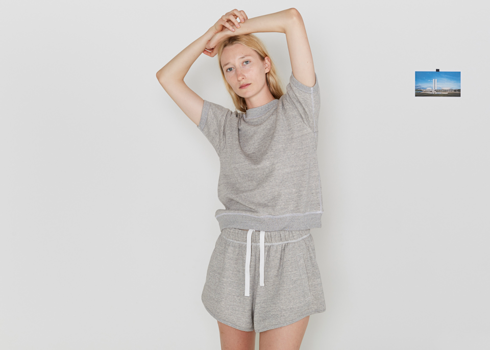 """Lately I've been buying comfy things by smaller brands who have sustainability baked into their DNA. It's my way of supporting the parts of the industry I align with while also acquiring things I can live in while quarantining and beyond."" <br> <br> <strong>Entireworld</strong> Sweats, $, available at <a href=""https://go.skimresources.com/?id=30283X879131&url=https%3A%2F%2Ftheentireworld.com%2Fwomen%2Fproduct%2Fshorts-womens-type-d-version-3-grey"" rel=""nofollow noopener"" target=""_blank"" data-ylk=""slk:EntireWorld"" class=""link rapid-noclick-resp"">EntireWorld</a>"