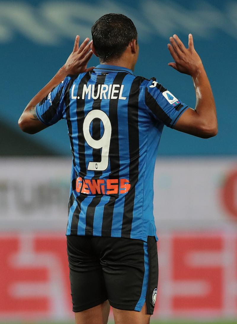 BERGAMO, ITALY - JULY 08: Luis Muriel of Atalanta BC celebrates his goal during the Serie A match between Atalanta BC and UC Sampdoria at Gewiss Stadium on July 8, 2020 in Bergamo, Italy. (Photo by Emilio Andreoli/Getty Images)
