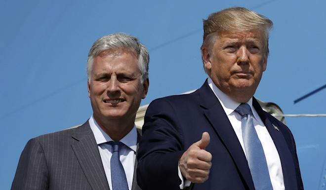 """US President Donald Trump and his national security adviser Robert O'Brien. O'Brien has said Huawei would act as a """"Trojan horse"""" if allowed to help build Canada's 5G network. Photo: AP"""