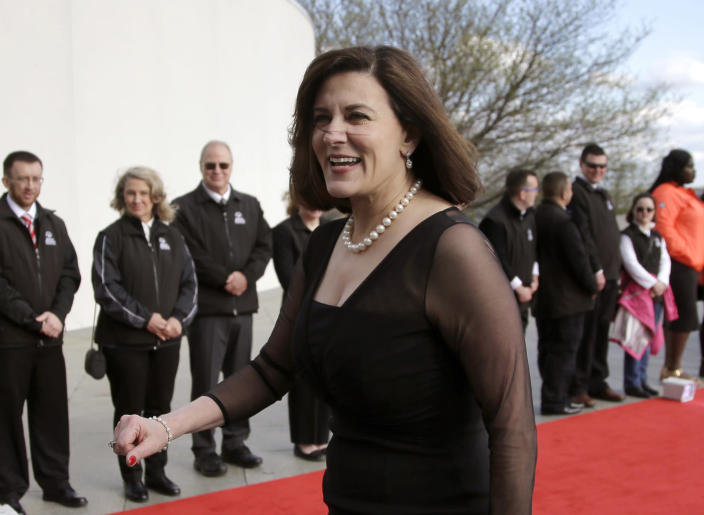 FILE - In this May 7, 2017 file photo, Victoria Reggie Kennedy, widow of Sen. Edward M. Kennedy, arrives at the John F. Kennedy Presidential Library and Museum before the 2017 Profile in Courage award ceremonies. President Joe Biden is nominating the widow of Sen. Ted Kennedy to serve as his ambassador to Austria Kennedy, an attorney and a gun control advocate, came to know Biden during the years he served with her husband in the Senate. (AP Photo/Steven Senne, File)