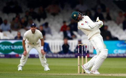 Mohammad Amir of Pakistan avoids a bouncer - Credit: Getty Images
