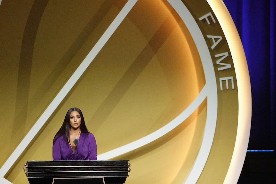 Vanessa Bryant speaks on behalf of Class of 2020 inductee, Kobe Bryant during the 2021 Basketball Hall of Fame Enshrinement Ceremony at Mohegan Sun Arena on May 15, 2021 in Uncasville, Connecticut. Kobe Bryant tragically died in a California helicopter crash on Jan 26, 2020. (Photo by Maddie Meyer/Getty Images)