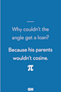 <p>Because his parents wouldn't cosine.</p>