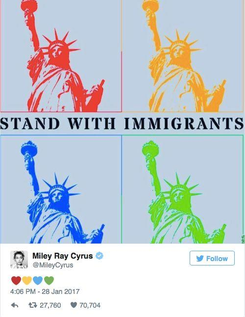 Miley Cyrus shared a multicolored image about standing alongside immigrants in the United States.