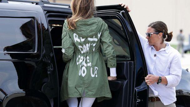 "PHOTO: First lady Melania Trump returns from traveling to Texas to visit facilities that care for children taken from their parents at the U.S.-Mexico border on June 21, 2018. Her jacket has the words ""I REALLY DON'T CARE, DO U?"" printed on the back. (Chip Somodevilla/Getty Images, FILE)"