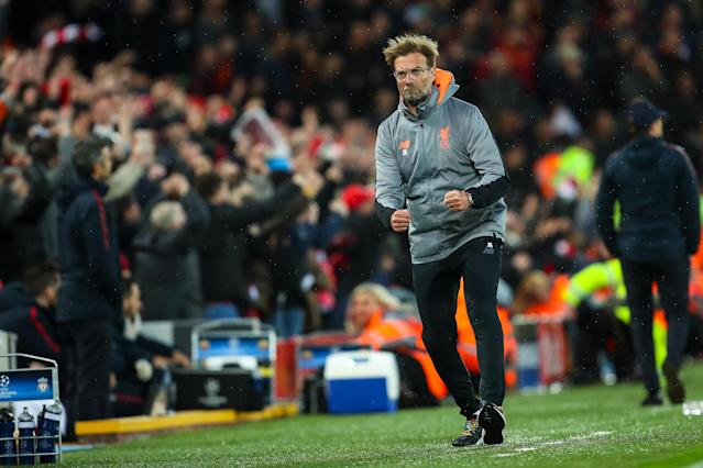 """Jurgen Klopp outcoached Eusebio Di Francesco Liverpool's Champions League semifinal first leg against <a class=""""link rapid-noclick-resp"""" href=""""/soccer/teams/roma/"""" data-ylk=""""slk:Roma"""">Roma</a>, and as a result has a huge advantage heading into the second. (Getty)"""
