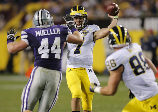 Michigan quarterback Shane Morris (7) throws to teammate Jake Butt (88) as Kansas State defensive end Ryan Mueller (44) defends during the first half of the Buffalo Wild Wings Bowl NCAA college football game on Saturday, Dec. 28, 2013, in Tempe. (AP Photo/Matt York)
