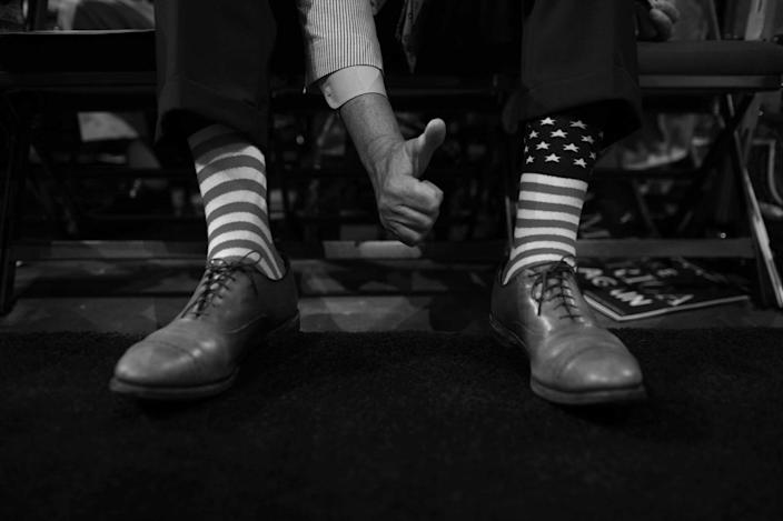<p>Jef Freeman, delegate from Alabama with stars and stripes socks during the RNC Convention in Cleveland, OH on July 19, 2016. (Photo: Khue Bui for Yahoo News)<br></p>