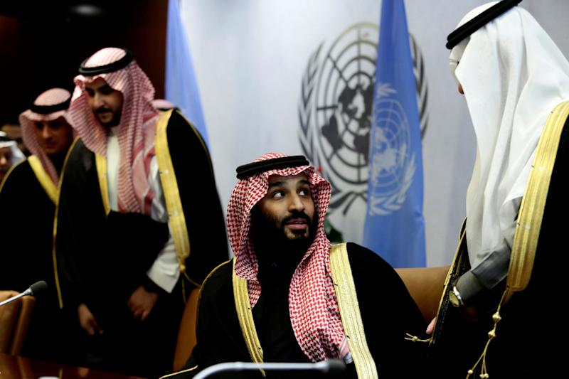 Saudi Arabia's crown prince Mohammed bin Salman Al Saud can be seen during a photo shoot at the United Nations Headquarters in New York's Manhattan district, New York, March 27, 2018. REUTERS / Amir Levy