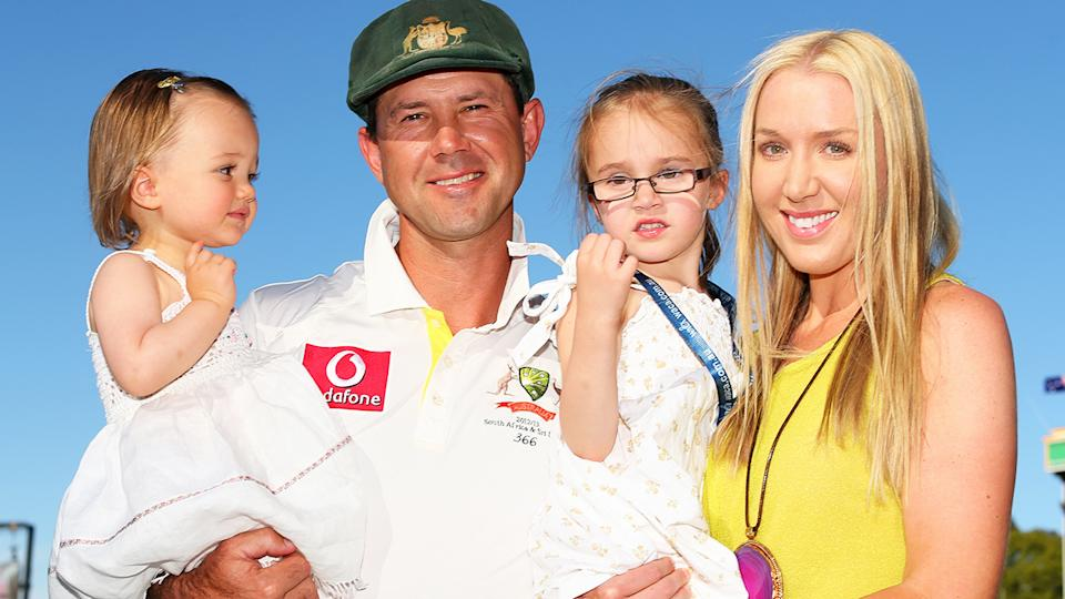 Ricky Ponting, pictured here with daughters Emmy and Matisse and wife Rianna.