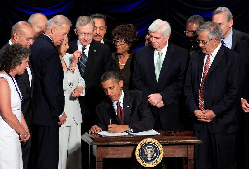 File photo of U.S. President Barack Obama signing the Dodd-Frank Wall Street Reform and Consumer Protection Act in Washington
