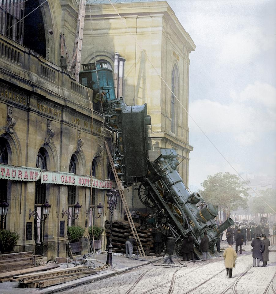 <p>One of the most famous – and most photographed – train crashes in history happened on October 22 1895 at Gare Montparnasse in Paris, when a train careered through its buffers, through a station wall and onto the street below. (Head of Zeus Books) </p>