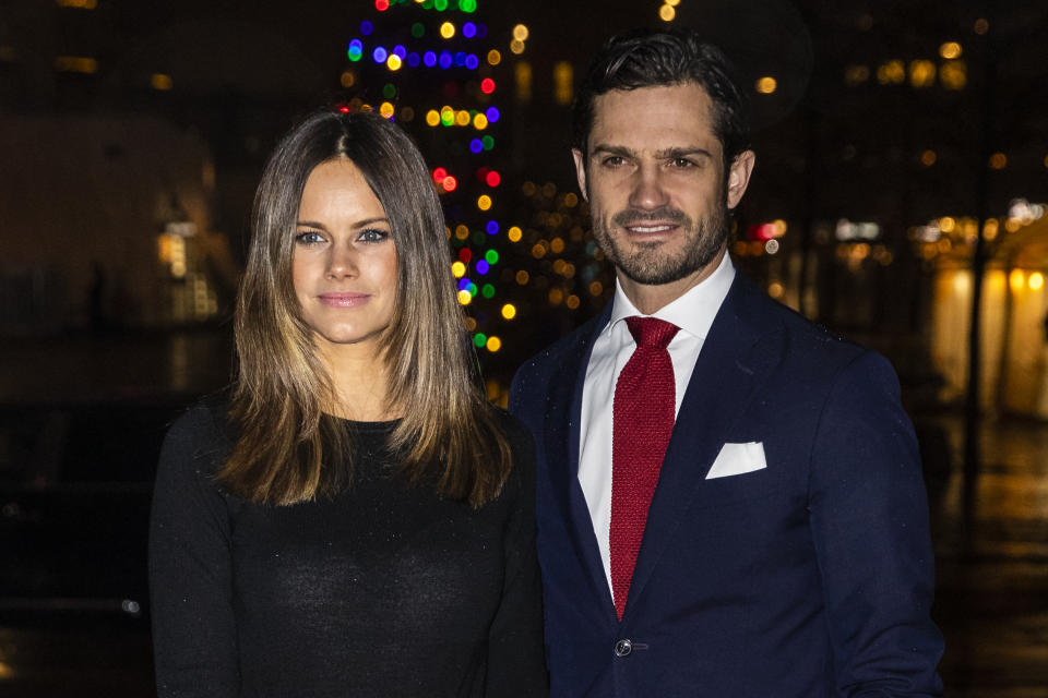 STOCKHOLM, SWEDEN - DECEMBER 21: Princess Sofia of Sweden and Prince Carl Philip of Sweden attend the concert Christmas in Vasastan at  Gustaf Vasa Church on December 21, 2019 in Stockholm, Sweden. (Photo by Michael Campanella/Getty Images)
