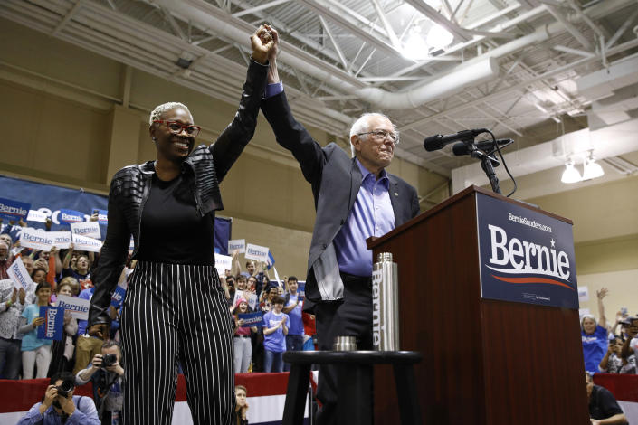 Sanders with former Ohio state Sen. Nina Turner at a campaign event in February. (Patrick Semansky/AP)
