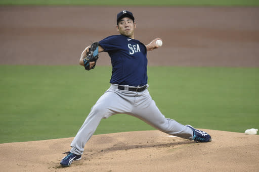 Seattle Mariners starting pitcher Yusei Kikuchi delivers during the first inning of a baseball game against the San Diego Padres, Friday, Sept. 18, 2020, in San Diego. (AP Photo/Denis Poroy)