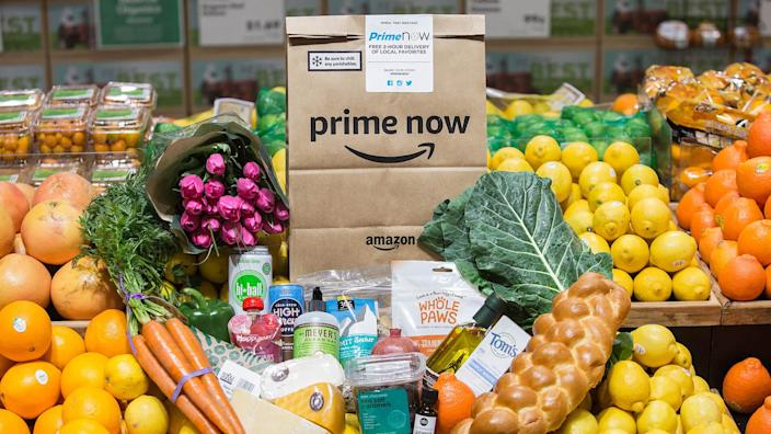 Amazon Now Delivery at Whole Foods Market Lamar in Austin, Texas on February 5, 2018.