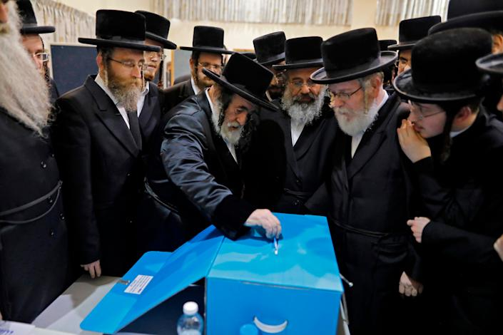 Ultra-Orthodox Jews vote in Israel on March 2, 2020.