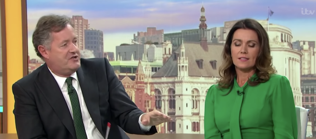 Piers Morgan on <em>Good Morning Britain </em>with Susanna Reid. (ITV)