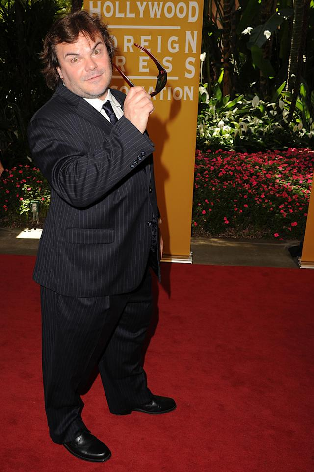 Jack Black arrives at the Hollywood Foreign Press Association's 2012 Luncheon held at the Beverly Hill Hotel on August 9, 2012.