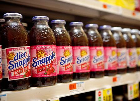 FILE PHOTO: Snapple bottles are seen inside a store in Port Washington, New York May 7, 2008.  REUTERS/Shannon Stapleton/File Photo