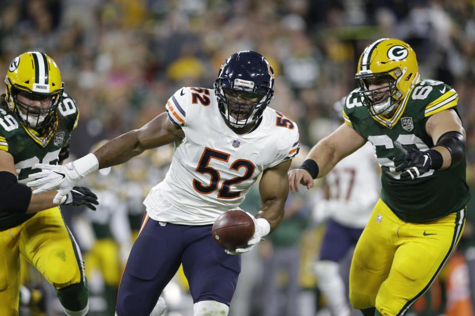 Khalil Mack, ladies and gentlemen: The newest Bears pass-rusher made a quick impact. (AP)
